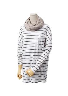 [더산의류](여성) T815-스트라이프 포켓 루즈핏 티셔츠