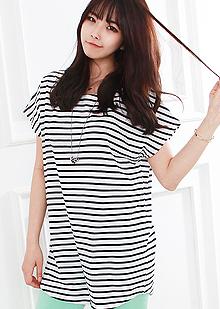 [더산의류](여성) T457-루즈핏 스트라이프 롱 티셔츠
