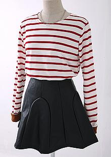 [더산의류](여성) T816-스트라이프 롤업 티셔츠