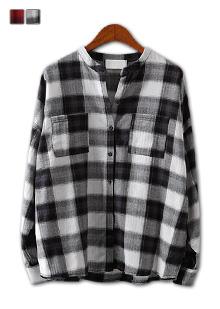 [더산의류](여성) NB066-체크 차이나 카라 셔츠